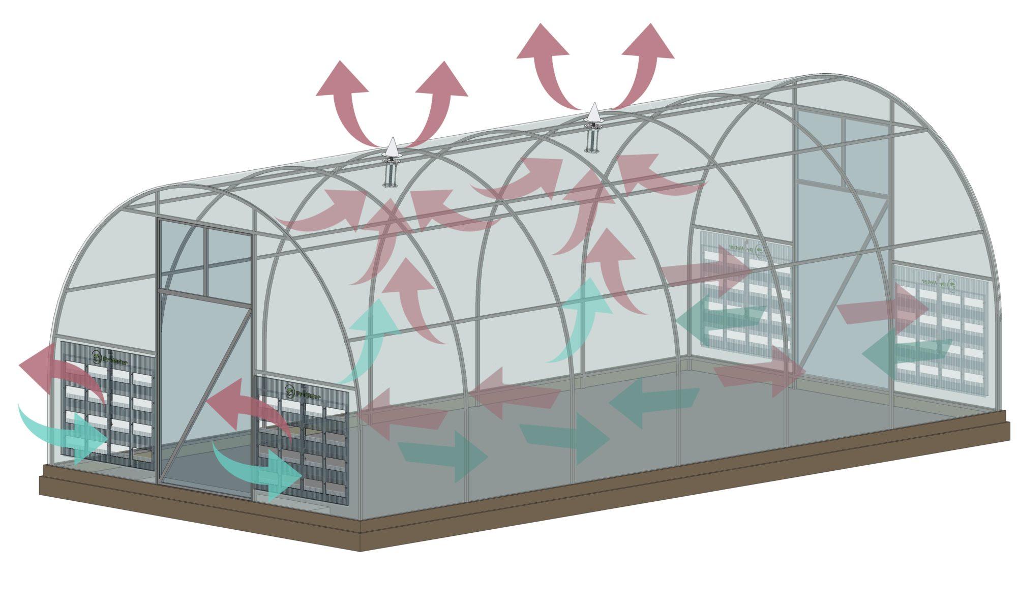 В теплицах со сквозной продольной вентиляцией помидоры и огурцы лучше высаживать по обе стороны центральной дорожки