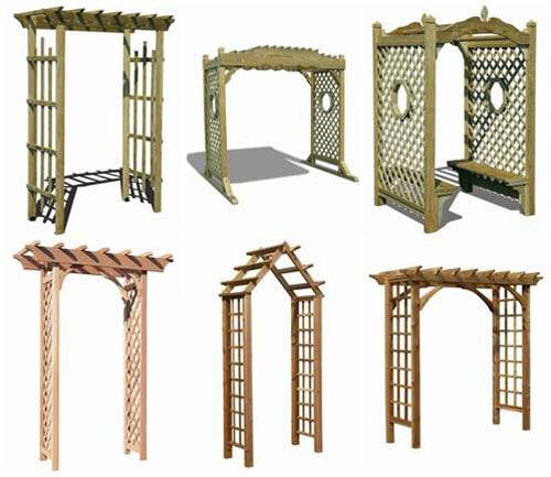 Садовые арки могут быть различных форм — плоские, овальные, трапециевидные, треугольные, сводчатые и т.д.